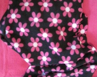 Pink Flowers on Black Fleece Scarf