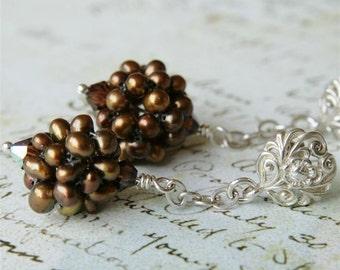 Bronze Pearl, Swarovski & Sterling Filigree Crystal Earring