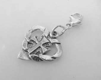 Cross and Heart Sterling Silver Clip On Charm