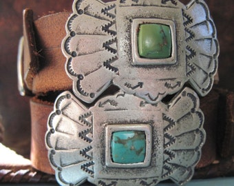 Two Sundance Leather Turquoise Stone Cuff Bracelets