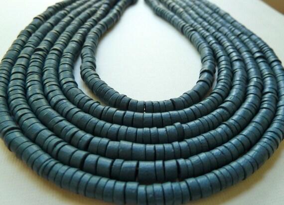 Blue Heishi Coco Wood Beads (Full Strand) - 4-5mm - Large 2mm Hole