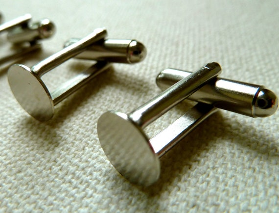 Cuff Link Blanks with 8mm Pads - Silver Tone Metal - Qty 10 (5 pair)