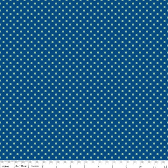 Blue and Aqua Polka Dot Fabric, Seaside by October Afternoon for Riley Blake, Dot Print in Blue, 1 Yard
