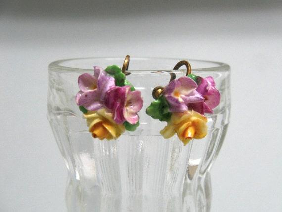 1950's porcelain flower earrings ... Coalport England