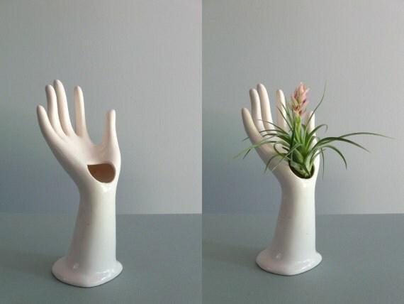 vintage white porcelain hand vase / ring holder ... made in Japan
