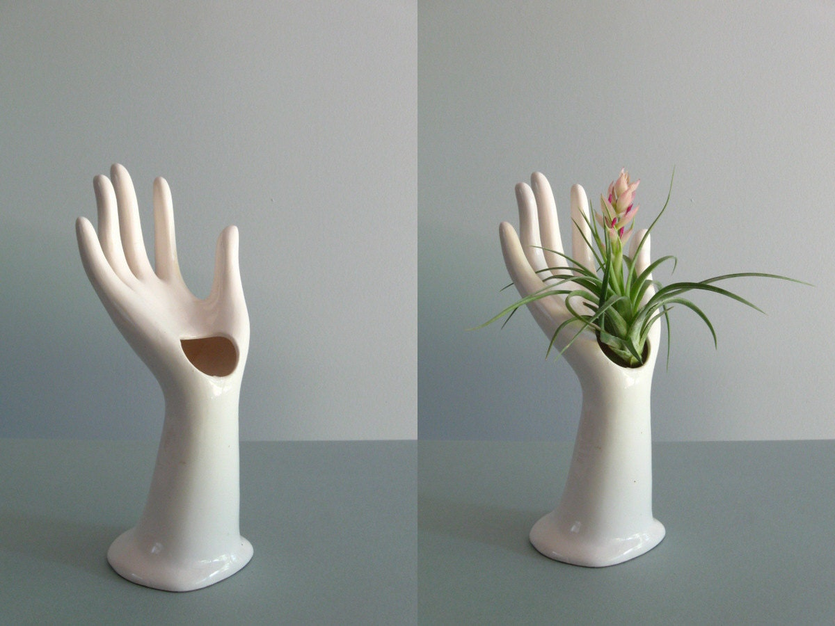 Vintage White Porcelain Hand Vase Ring Holder By