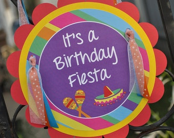 Fiesta Birthday Party Door Sign, Party Sign, Cinco De Mayo Party, Welcome Sign, 1st Birthday - Girls or Boys Birthday Party Decorations