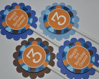 12 Boys Birthday Cupcake Toppers - Blue, Orange and Brown Polkadots - Personalized - Boys Birthday Party Decorations