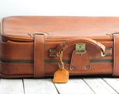 vintage brown leather luggage