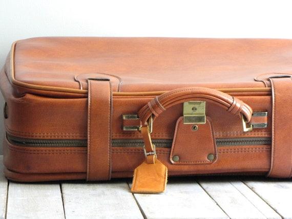 vintage brown leather luggage