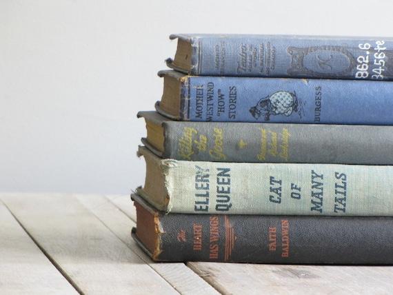 vintage stack of books - blue