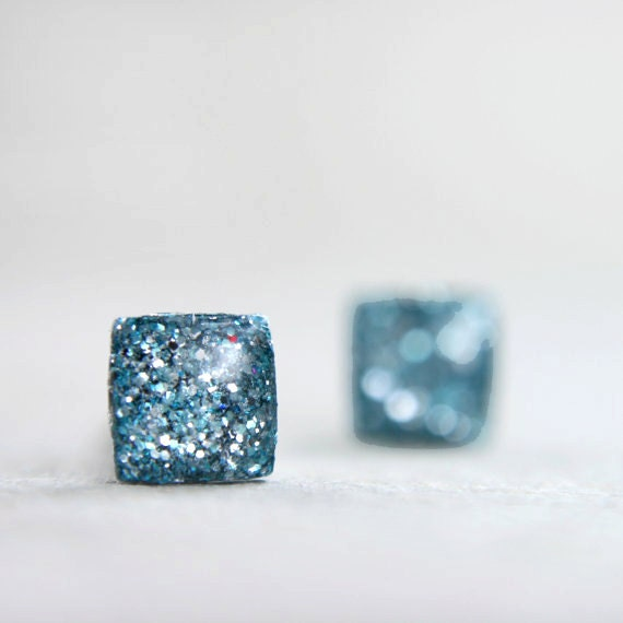 tiny square post earrings in sparkly ice blue -on sale-