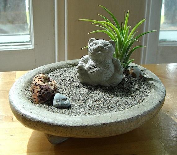 lucky cat buddha sculpture in zen garden air plant terrarium. Black Bedroom Furniture Sets. Home Design Ideas