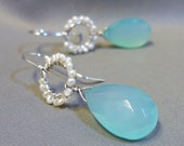Pearl  and Chalcedony Drops on Sterling Silver
