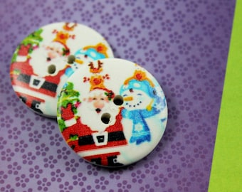 Wooden Buttons - Happy Christmas Man and Snowman Picture White Wood Buttons 1.18 inch. 6 in a set