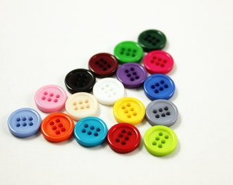 Colorful Buttons. 17 Pairs of Mix and match color Six Holes Plastic Buttons. 0.43 inch.
