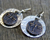 Sterling Silver and Bronze Dragonfly Earrings