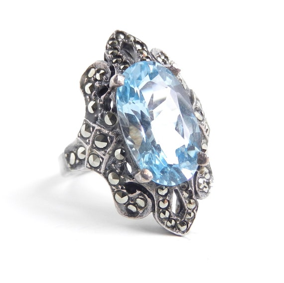Blue Stone & Marcasite  Ring -  Vintage Size 8 Sterling Silver Statement Costume Jewelry / Blue Bling