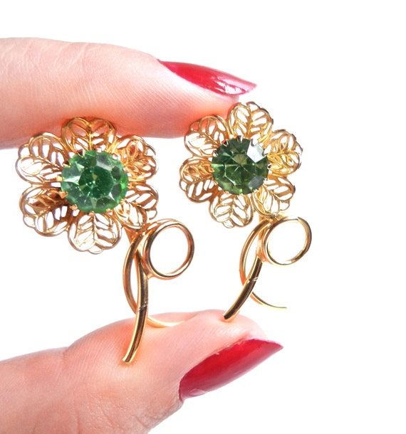 Vintage Flower Pins - Set of Two Light Green Rhinestone Gold Tone Floral Pins / Peridot Green