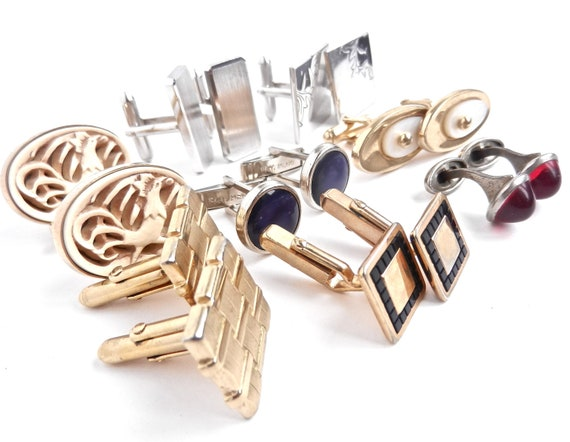 Vintage Cuff Link Lot -  8 Pairs of Silver & Gold Tone Mens Jewelry... Swank / Well Dressed Man