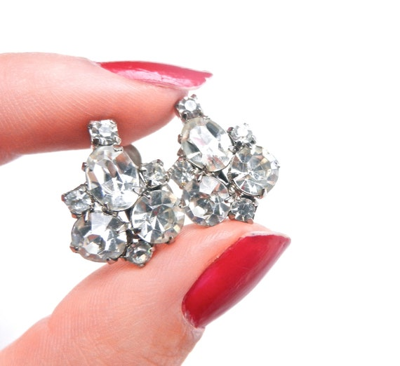 Vintage Coro Clip On Earrings - Clear Rhinestone Signed Costume Jewelry / Icy Clusters