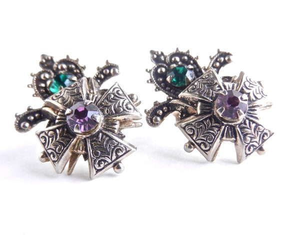 Vintage Clip On Earrings - Silver Tone Screw Back Stud Filigree & Rhinestone Costume Jewelry / Ornate Victorian Style