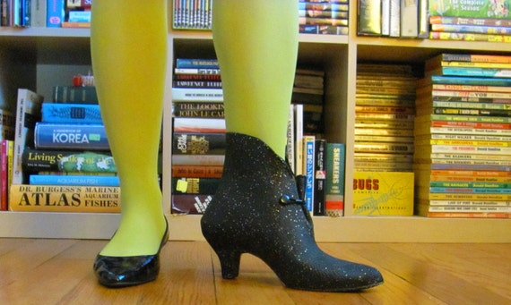 Vintage Mod 60s Rainsteps Glitter Dusted 3 Inch Heel Galoshes Elf Boots Petite Womens Size 6