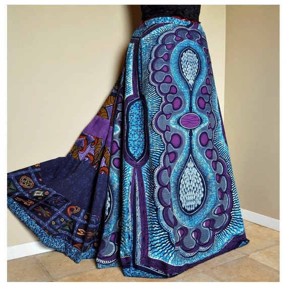 Deep Down Blues - Long African Patchwork Skirt, Bright Ethnic Skirt,  Tribal Blues Purple, Ideal for M to xXL