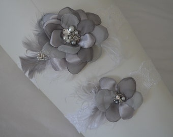 BEST SELLER,Grey and White garter,Shades of Grey flower, Feather, rhinestone beading,lace garter, Style B059