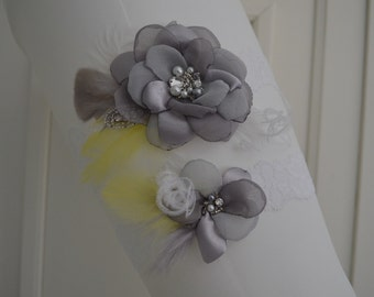 Grey,Yellow, White garter,Shades of Grey flower, Feather, rhinestone beading,lace garter, Style B059