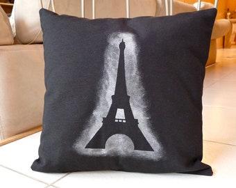 Black and Silver Eiffel Tower Pillow Case -  Hand Painted Glowing Silver Eiffel Tower Pillow Cover - 16x16 Paris Decorative Pillow