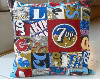 Red and Blue Decorative Pillow - 18 x 18 Cushion Cover - Logo Pillow Case