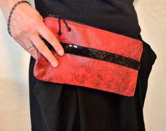 Faux Suede Red and Black Wristlet Clutch - Modern Zippered Pouch with Sequin Trim - Vegan Clutch