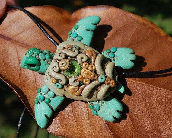 Polymer Clay Green Turtle Necklace