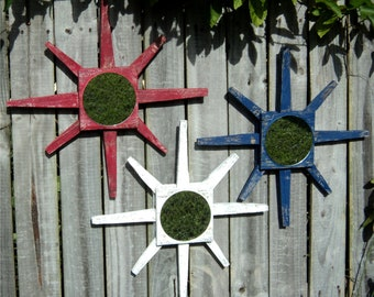 Set Of 3 Patriotic Star Burst Wall Mirrors, RED WHITE & BLUE, Beach-y Weathered Wood Style