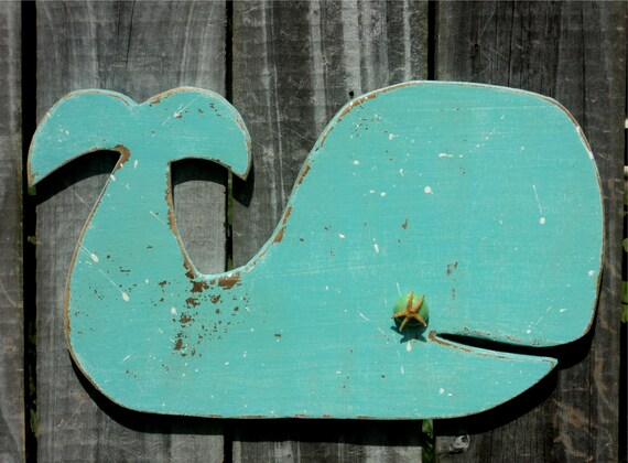 Beach-y Turquoise Wooden Whale, Casual Cottage Decor, Rustic Wall Hanging, Mantle Display