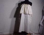 Beige linen shabby chic  dress OOAK OS  Plus boho handmade XL L 1X 2X