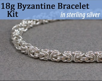 18g Byzantine Bracelet Chainmaille Kit in Sterling Silver