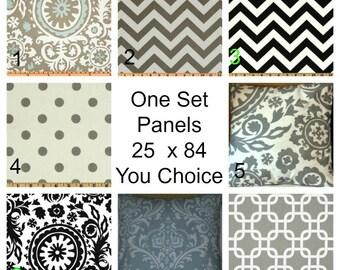 Two Curtain Panels 25 x 96 Premier Prints