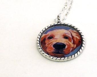 Golden Retriever Puppy Portrait Silver Pendant Necklace