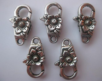 5 Pieces of 24mm Metal Jewelry Clasps - Lobster Claw Style, Raised Flower Shape Detail, Floral, Antique Silver Color, Double Sided, Large