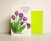 Purple Tulips Greeting Cards with Poem Original Artwork