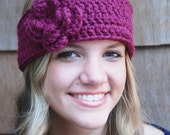 Winter Accessories, Crochet Headband with Flower, Teen Headwarmer, Ear Warmer, Headwrap, Rose Pink OR you choose colors, Wool Blend Yarn