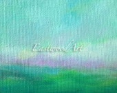 """ACEO Abstract Landscape Original Art """"Rolling""""  Small painting, 5"""" x 3"""""""