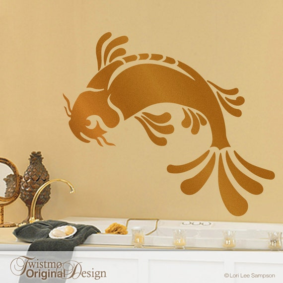 Large koi fish wall decal art asian bathroom decor by twistmo for Bathroom fish decor