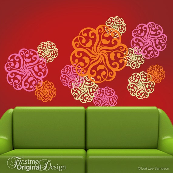 Vinyl Wall Decals: Mandala Decal, Doily Art Designs in 3 Colors, Wall Pattern Decals, Hot Pink Decor, Pink Flamingo, Tangerine Orange