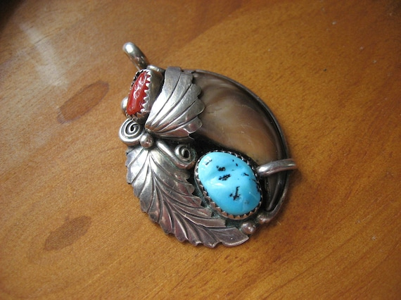 Navajo Bear Claw pendant, hallmarked Sterling Silver with genuine claw, turquoise, and coral