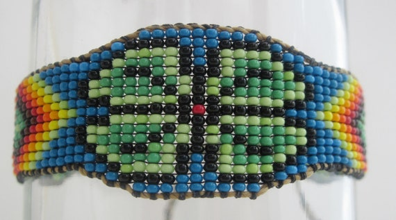 Flower Power Rainbow Seedbeaded Bracelet  Native American Design Inspired