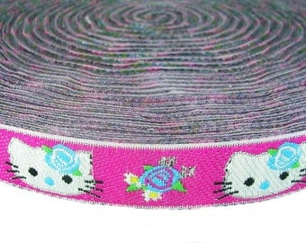 Glitter Kitty Woven Ribbon Rose Clothing Decorate Sewing 4 Yards