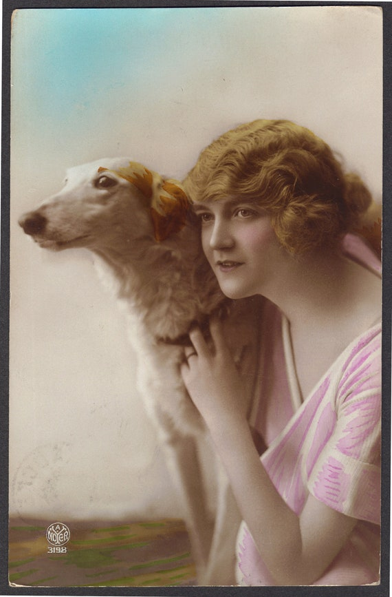 A Girl and her Dog A Noyer 1920s
